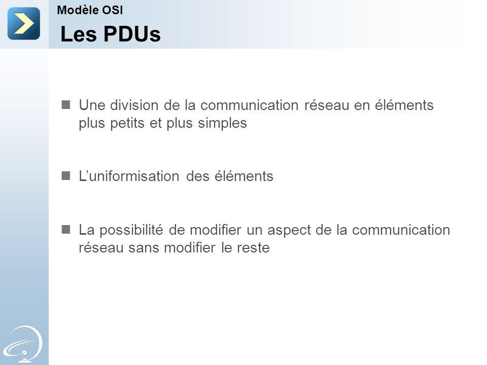 Modèle OSI Les PDUs. Une division de la communication réseau en éléments plus petits et plus simples.