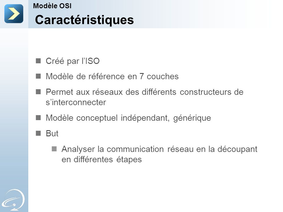 Caractéristiques Créé par l'ISO Modèle de référence en 7 couches