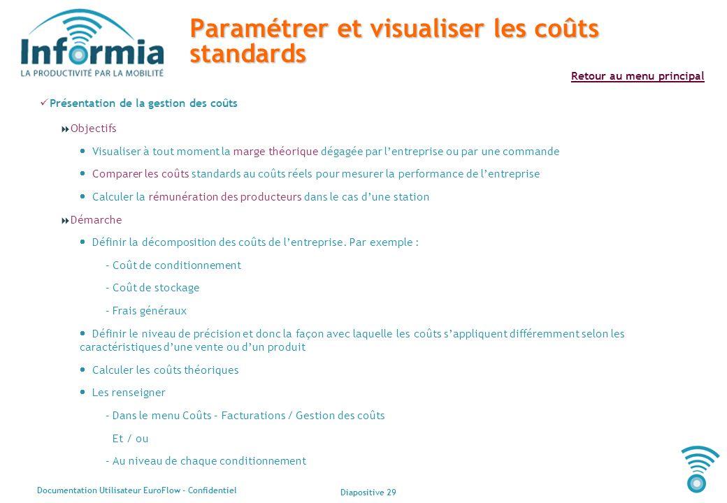 Paramétrer et visualiser les coûts standards