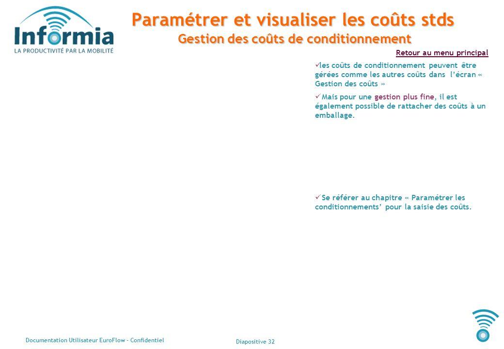 Paramétrer et visualiser les coûts stds