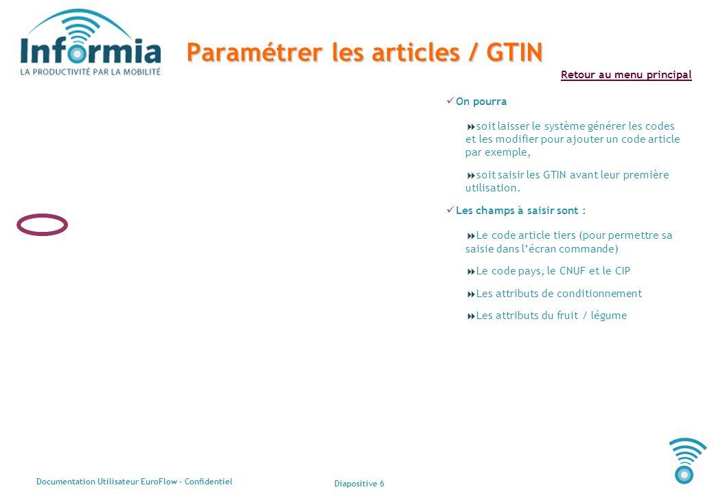 Paramétrer les articles / GTIN