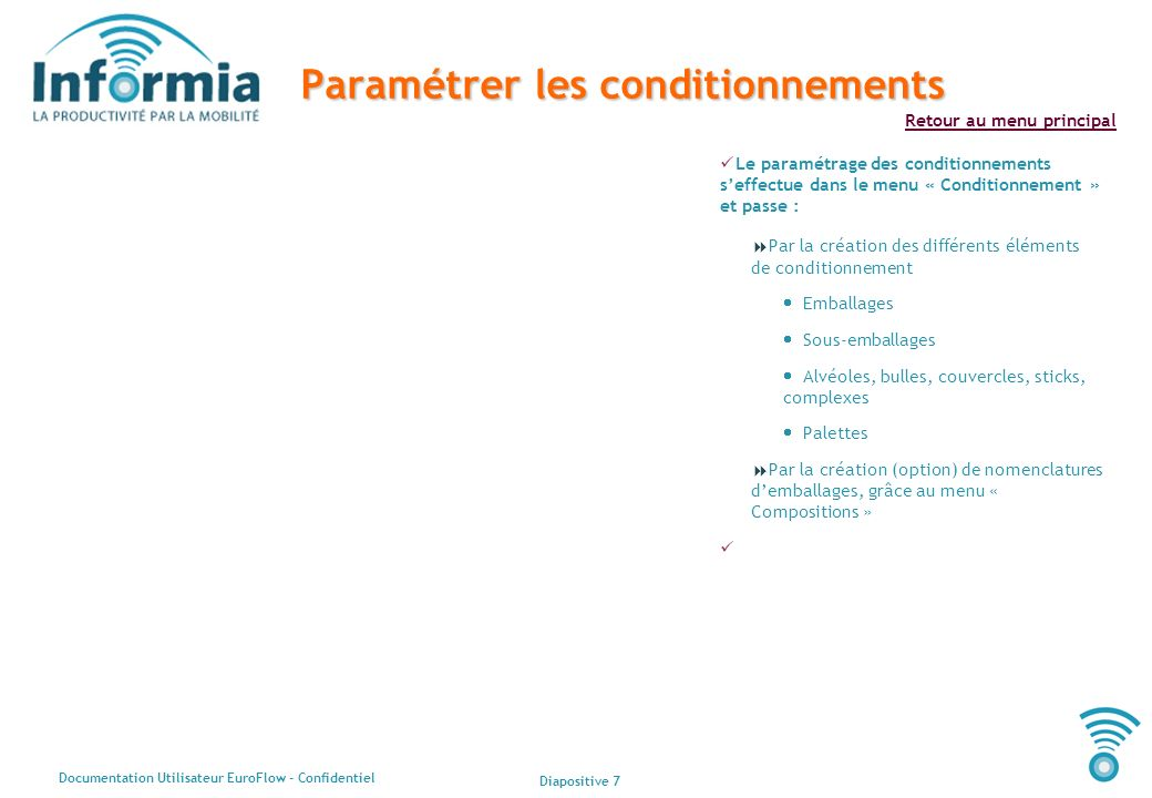 Paramétrer les conditionnements