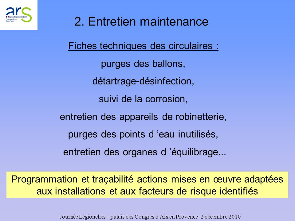2. Entretien maintenance