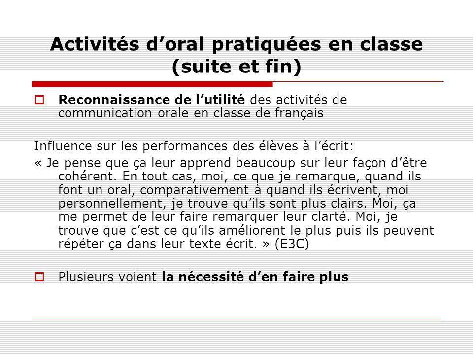 Activités d'oral pratiquées en classe (suite et fin)