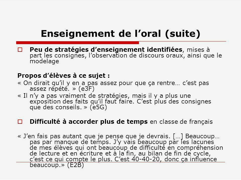 Enseignement de l'oral (suite)