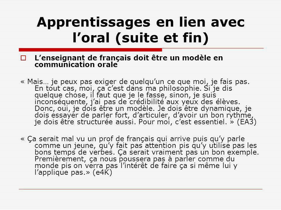 Apprentissages en lien avec l'oral (suite et fin)