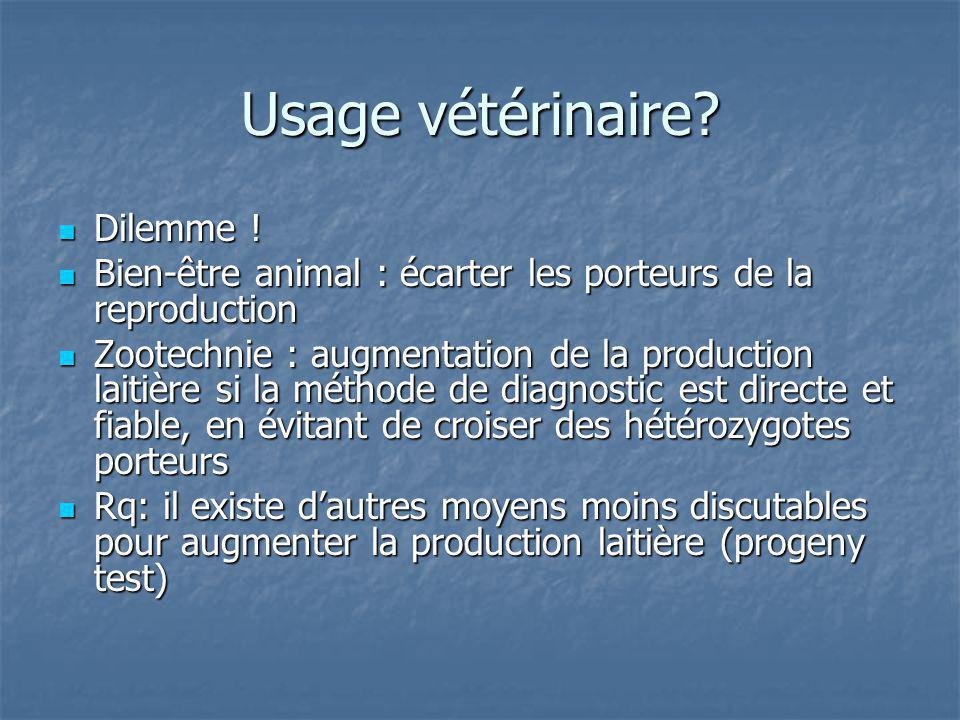Usage vétérinaire Dilemme !