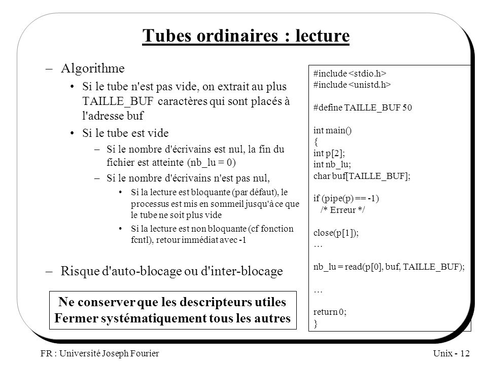 Tubes ordinaires : lecture