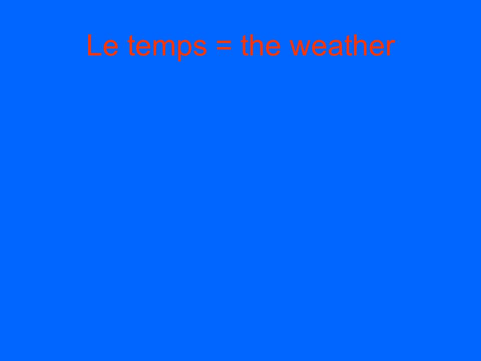Le temps = the weather