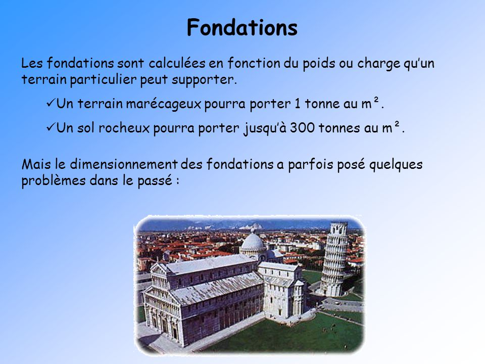 Fondations Les fondations sont calculées en fonction du poids ou charge qu'un terrain particulier peut supporter.