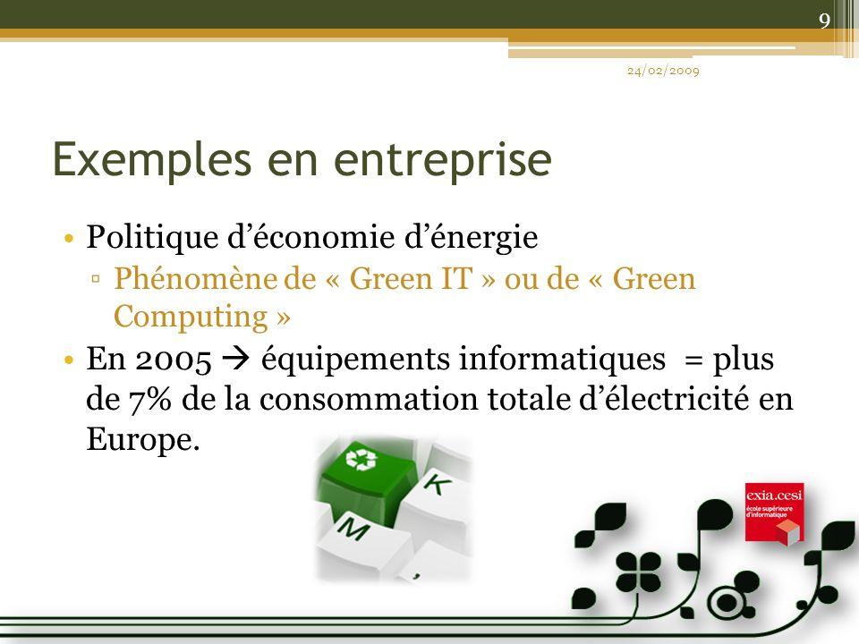 Exemples en entreprise