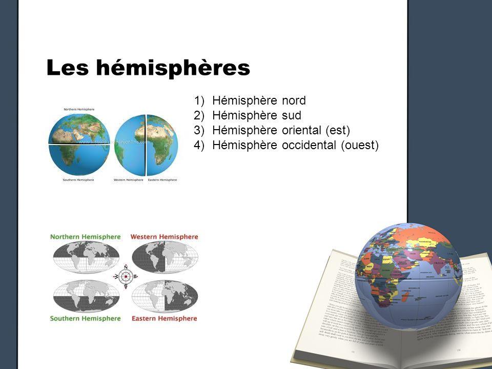 Les hémisphères Hémisphère nord Hémisphère sud
