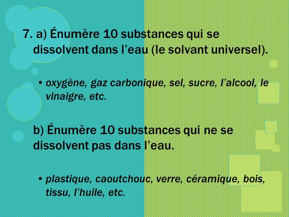 b) Énumère 10 substances qui ne se dissolvent pas dans l'eau.