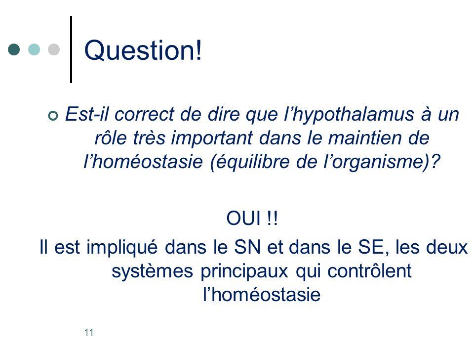 Question! Est-il correct de dire que l'hypothalamus à un rôle très important dans le maintien de l'homéostasie (équilibre de l'organisme)