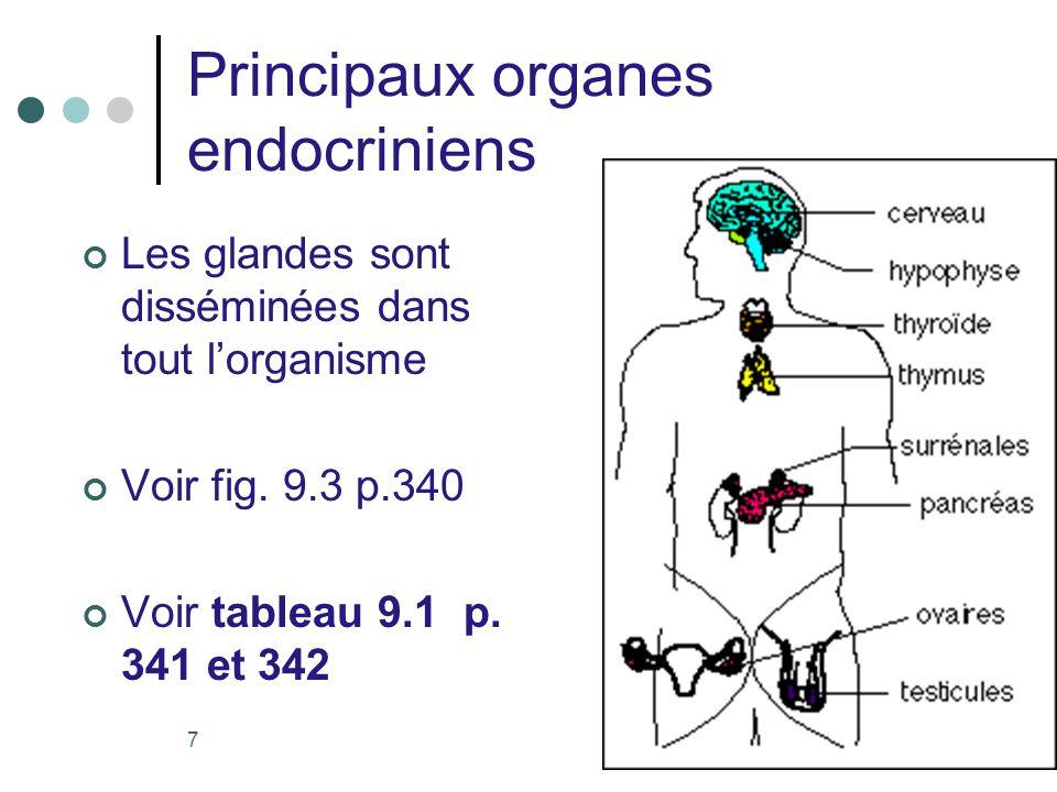 Principaux organes endocriniens