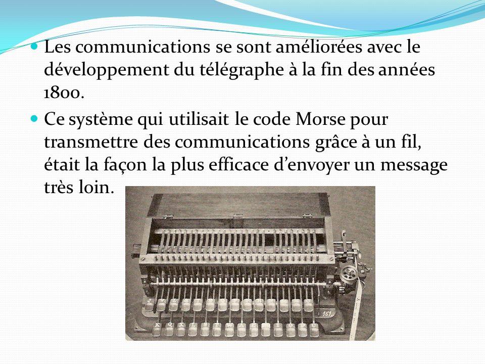 Les communications se sont améliorées avec le développement du télégraphe à la fin des années 1800.