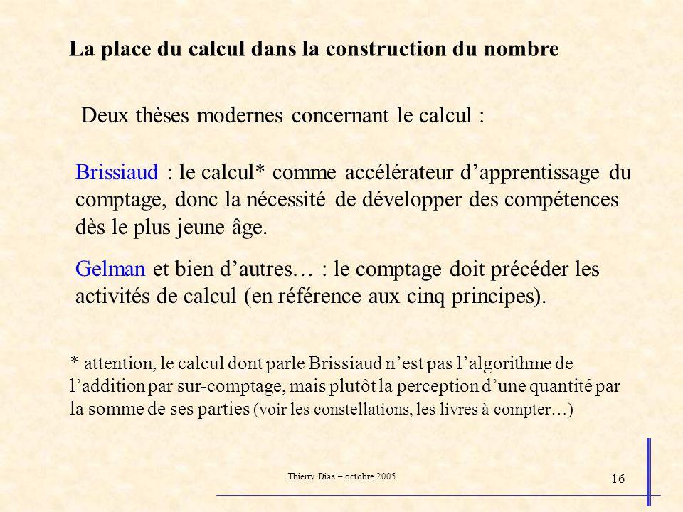 La place du calcul dans la construction du nombre