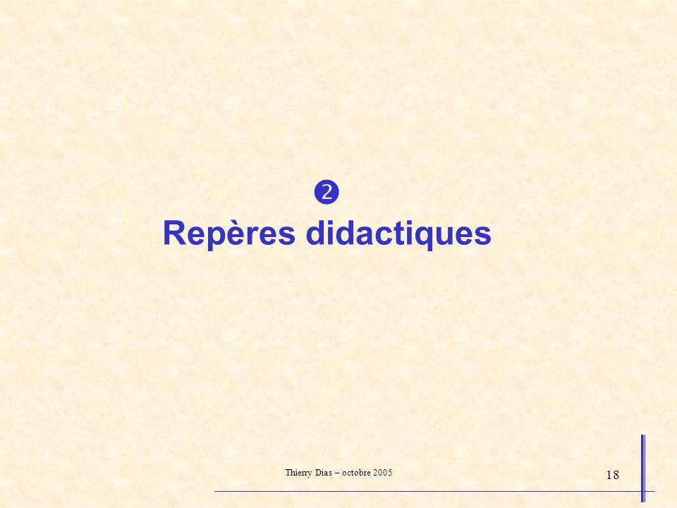  Repères didactiques Thierry Dias – octobre 2005