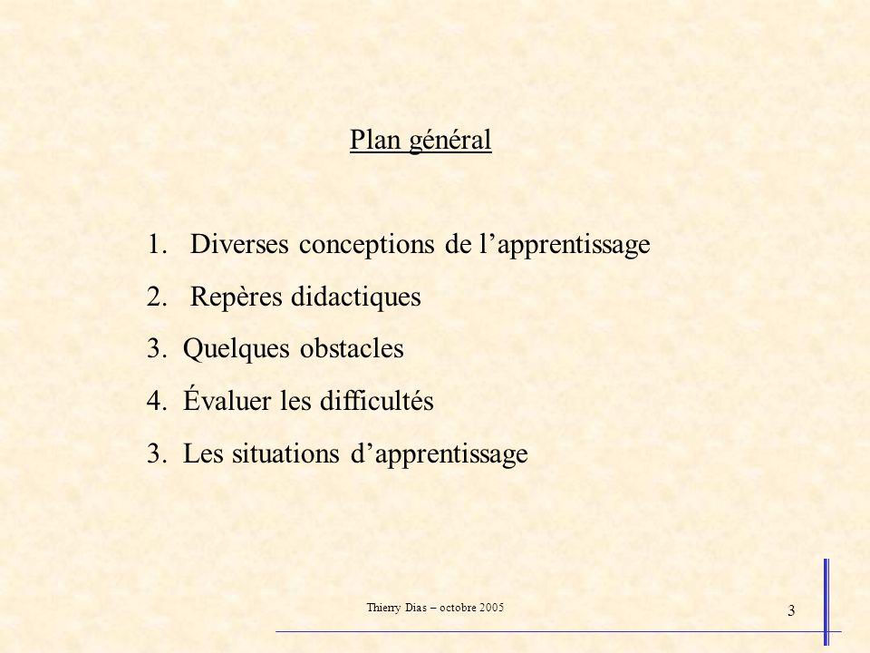 Diverses conceptions de l'apprentissage Repères didactiques