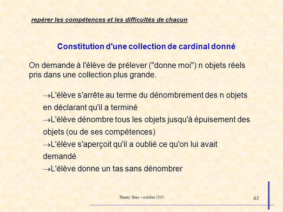 Constitution d une collection de cardinal donné