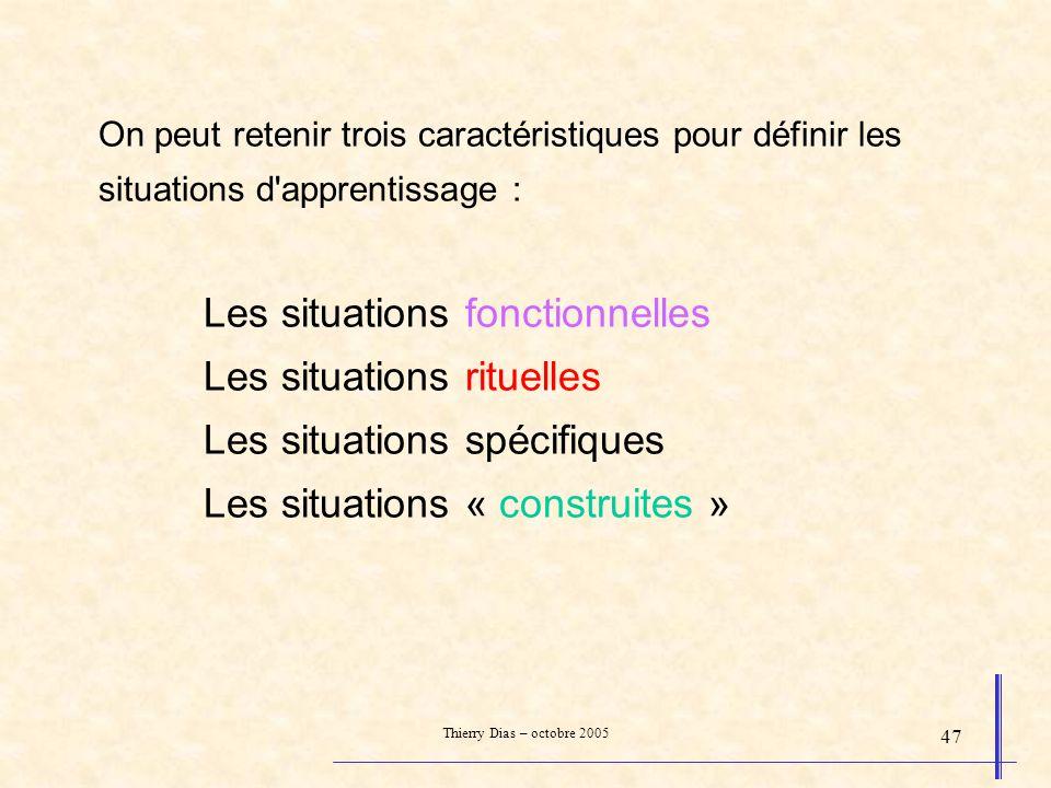 On peut retenir trois caractéristiques pour définir les situations d apprentissage : Les situations fonctionnelles Les situations rituelles Les situations spécifiques Les situations « construites »