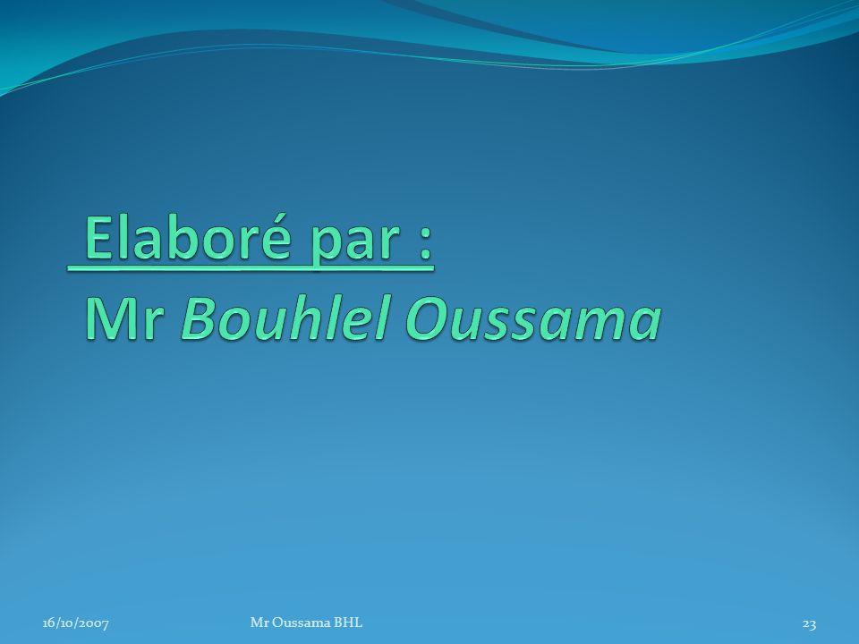 Elaboré par : Mr Bouhlel Oussama
