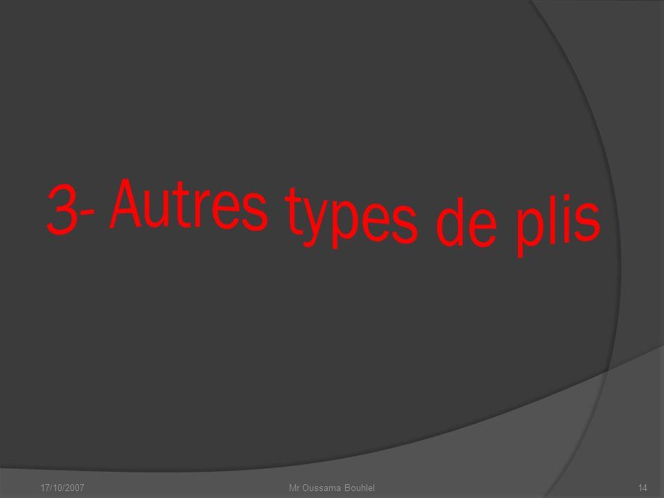 3- Autres types de plis 17/10/2007 Mr Oussama Bouhlel