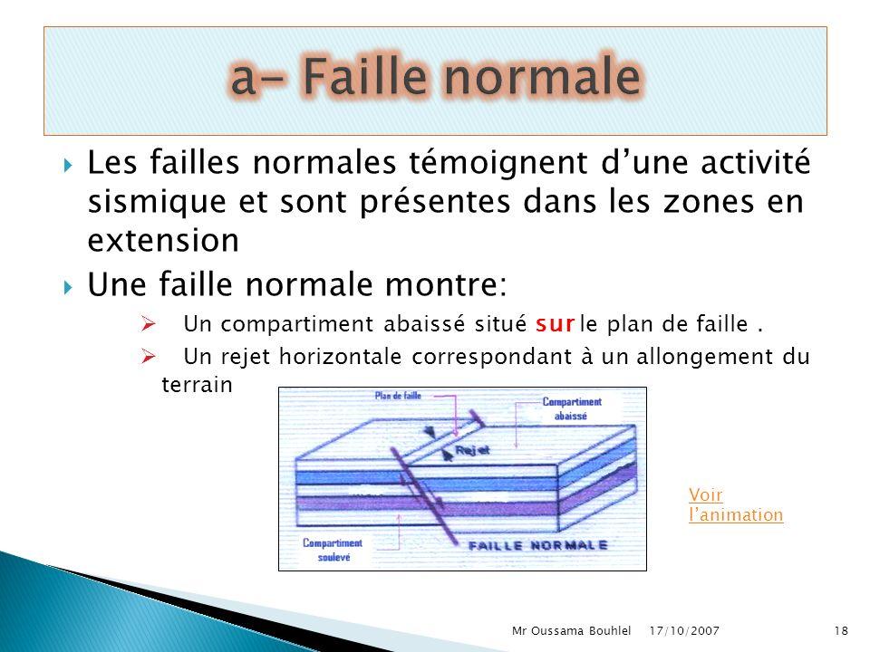 a- Faille normale Les failles normales témoignent d'une activité sismique et sont présentes dans les zones en extension.