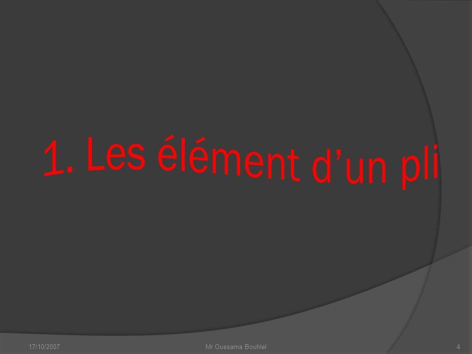 1. Les élément d'un pli 17/10/2007 Mr Oussama Bouhlel