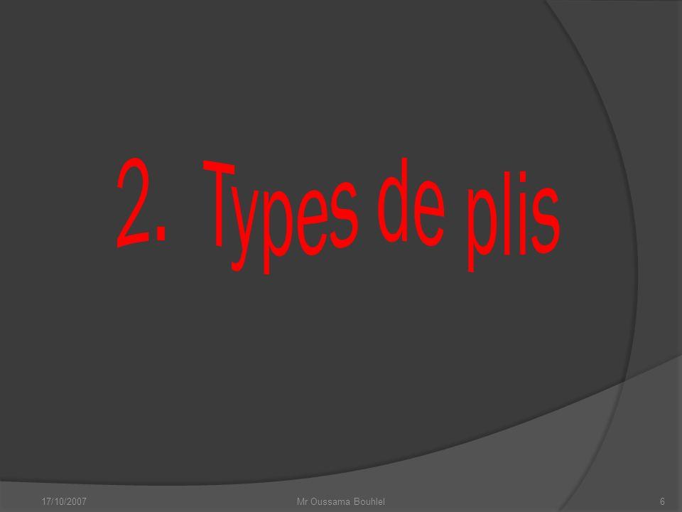 2. Types de plis 17/10/2007 Mr Oussama Bouhlel
