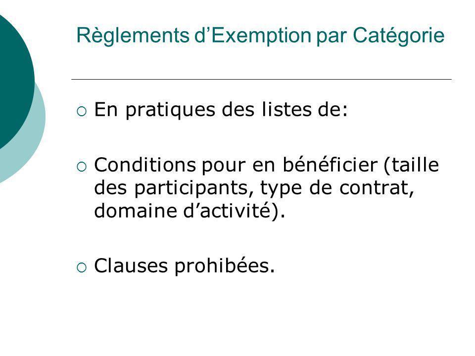Règlements d'Exemption par Catégorie