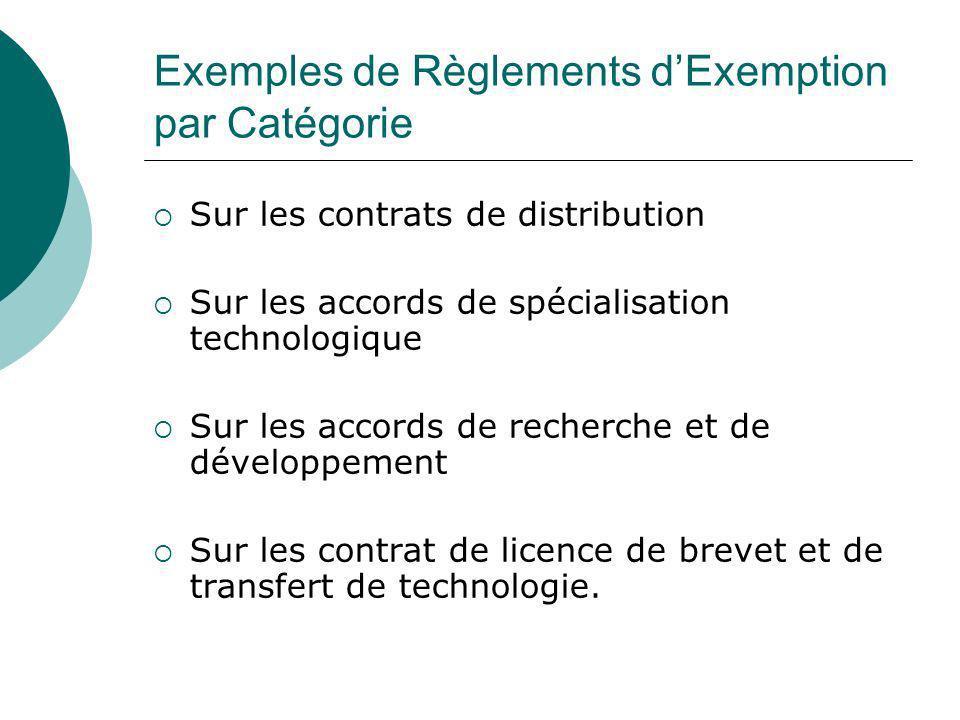 Exemples de Règlements d'Exemption par Catégorie