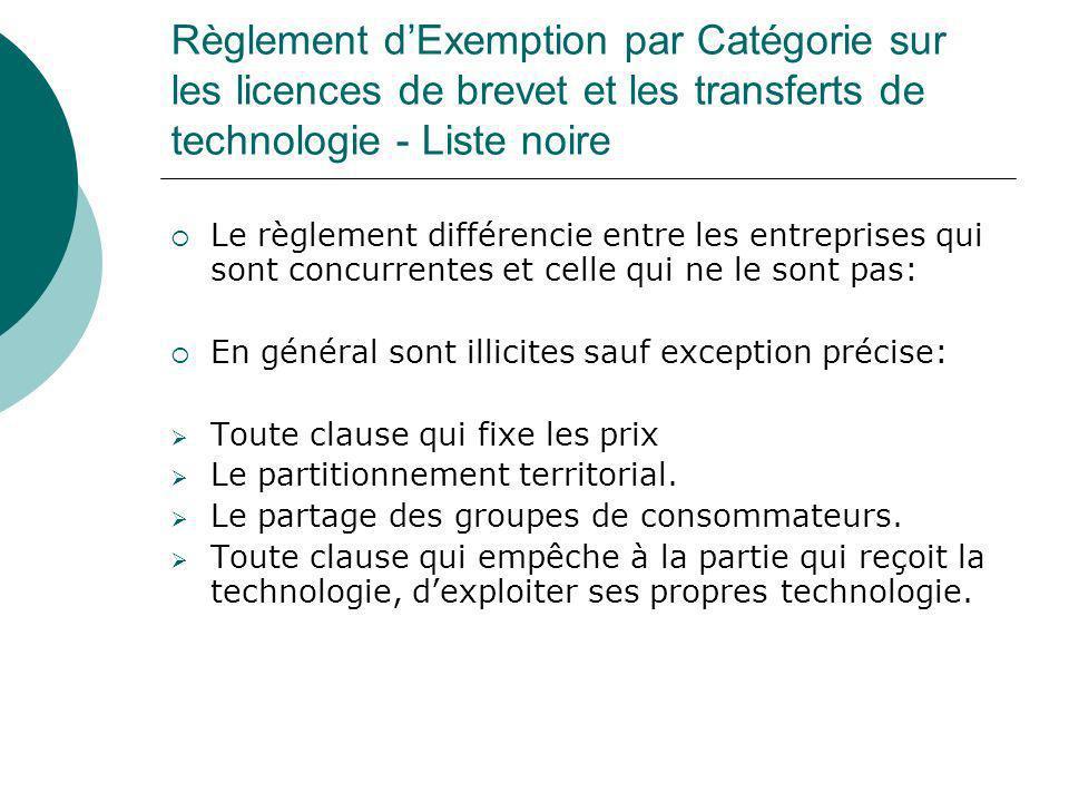Règlement d'Exemption par Catégorie sur les licences de brevet et les transferts de technologie - Liste noire