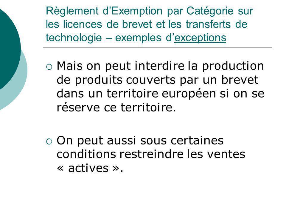 Règlement d'Exemption par Catégorie sur les licences de brevet et les transferts de technologie – exemples d'exceptions