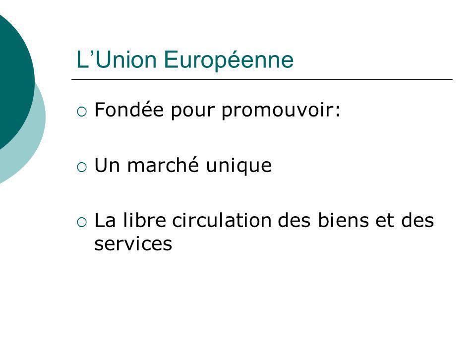 L'Union Européenne Fondée pour promouvoir: Un marché unique