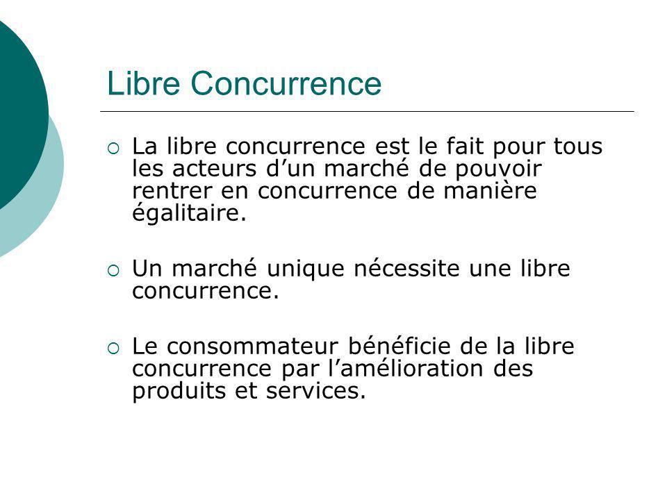 Libre Concurrence La libre concurrence est le fait pour tous les acteurs d'un marché de pouvoir rentrer en concurrence de manière égalitaire.