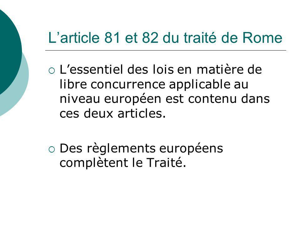 L'article 81 et 82 du traité de Rome