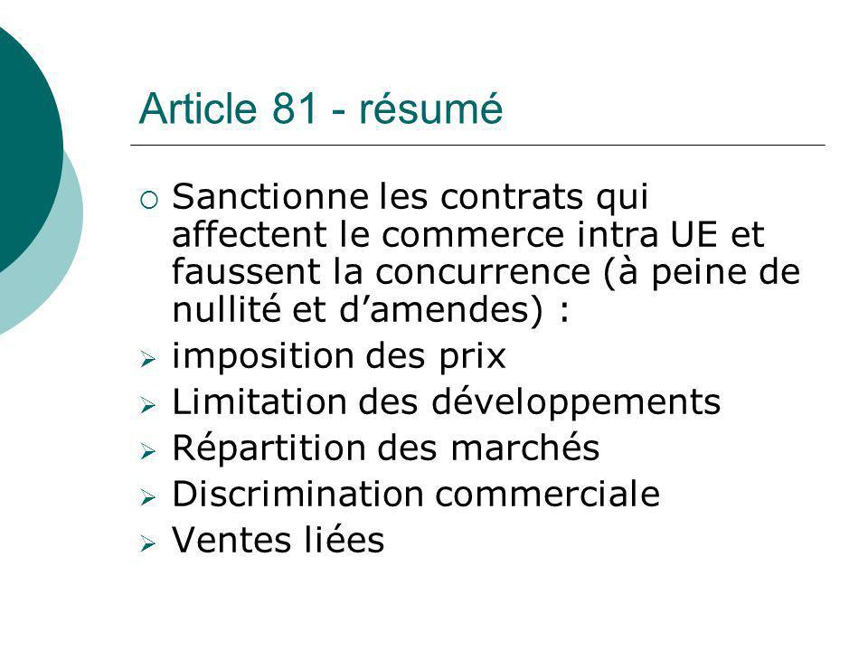 Article 81 - résumé Sanctionne les contrats qui affectent le commerce intra UE et faussent la concurrence (à peine de nullité et d'amendes) :