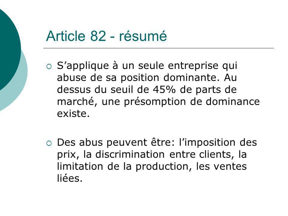 Article 82 - résumé
