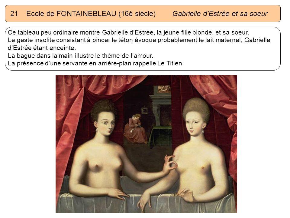 21 Ecole de FONTAINEBLEAU (16è siècle) Gabrielle d'Estrée et sa soeur