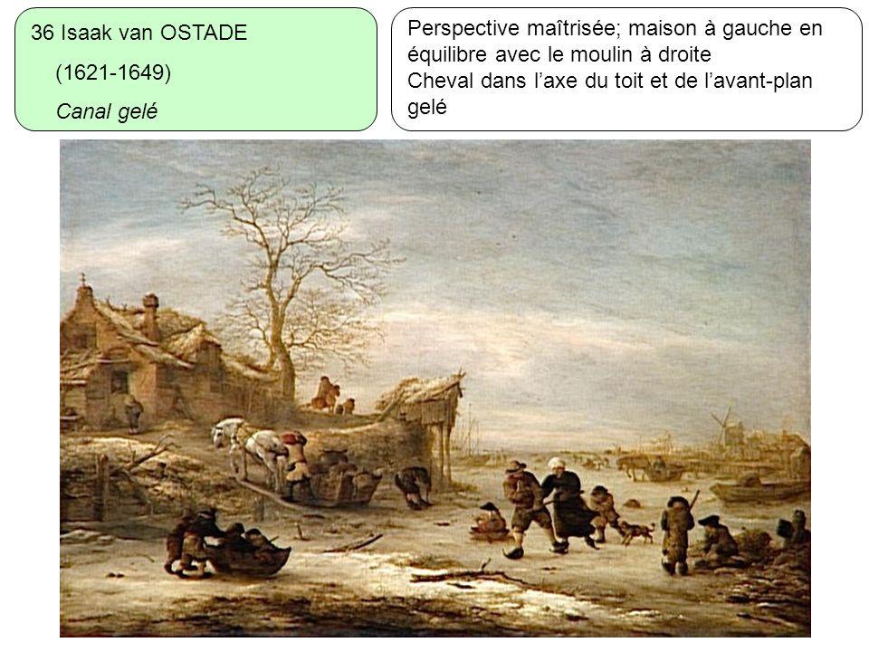 36 Isaak van OSTADE (1621-1649) Canal gelé. Perspective maîtrisée; maison à gauche en équilibre avec le moulin à droite.