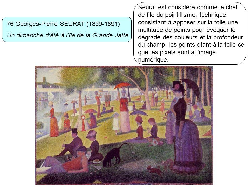 Seurat est considéré comme le chef de file du pointillisme, technique consistant à apposer sur la toile une multitude de points pour évoquer le dégradé des couleurs et la profondeur du champ, les points étant à la toile ce que les pixels sont à l'image numérique.