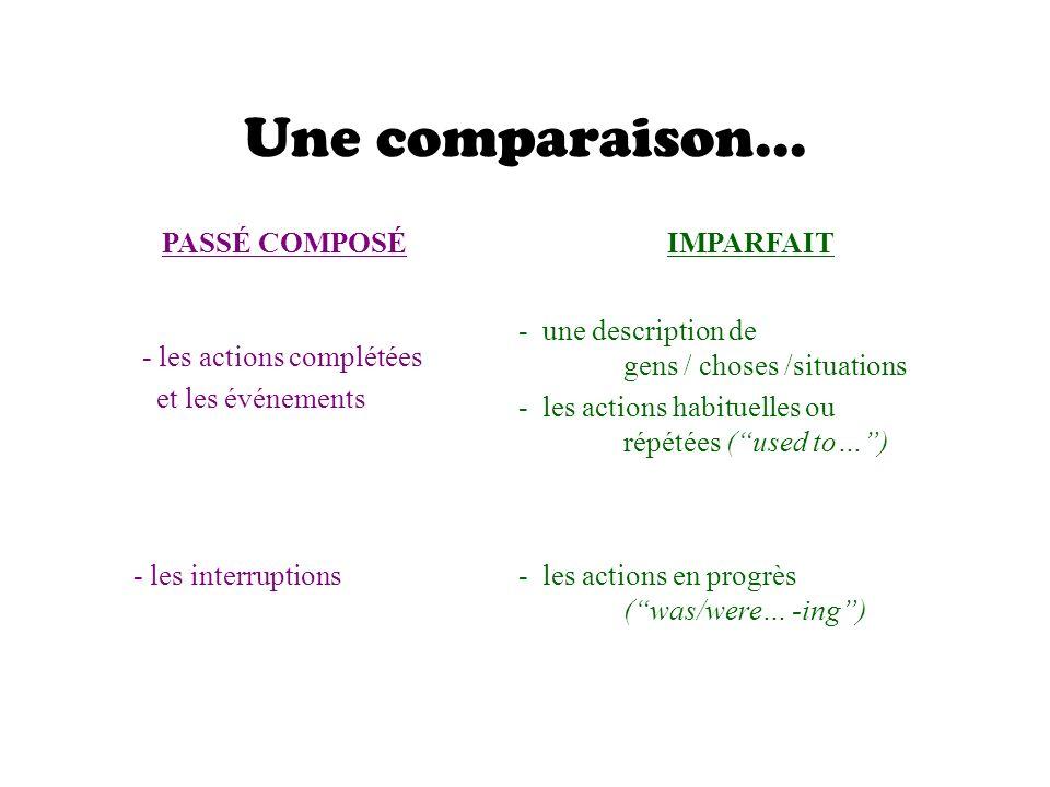 Une comparaison... PASSÉ COMPOSÉ IMPARFAIT