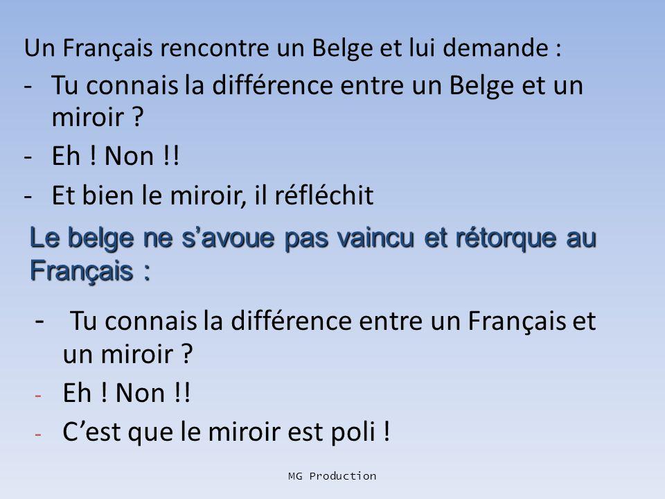 Un Français rencontre un Belge et lui demande :
