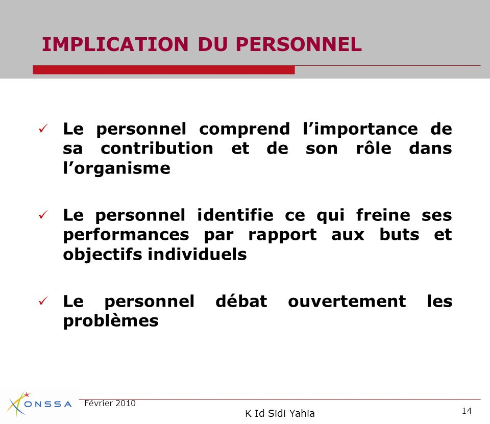 IMPLICATION DU PERSONNEL