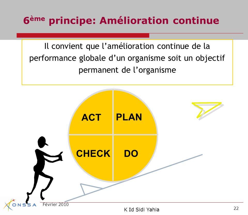 6ème principe: Amélioration continue