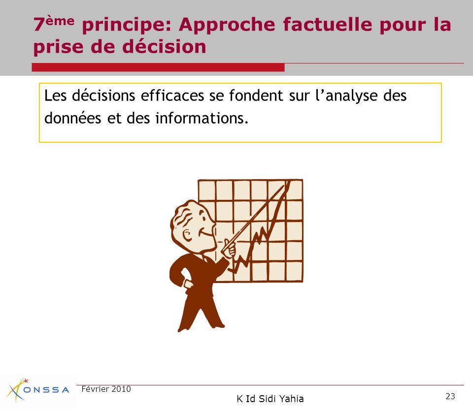 7ème principe: Approche factuelle pour la prise de décision