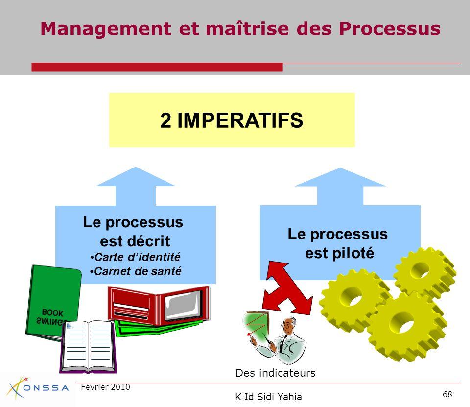 2 IMPERATIFS Management et maîtrise des Processus Le processus