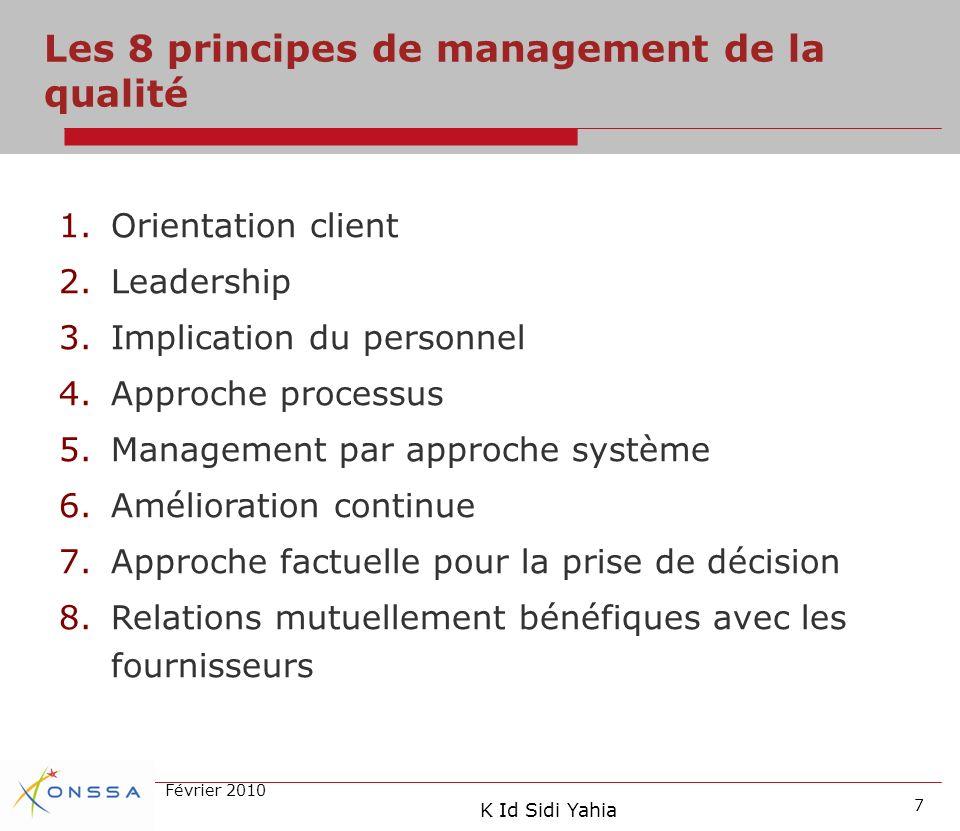 Les 8 principes de management de la qualité