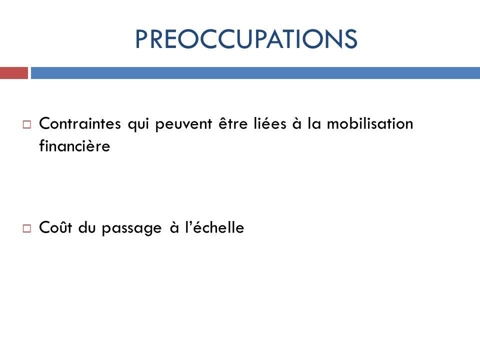 PREOCCUPATIONSContraintes qui peuvent être liées à la mobilisation financière.